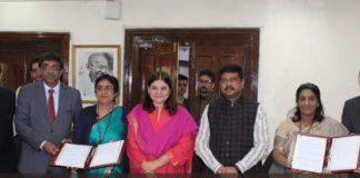 WCD Minister Maneka Gandhi and Skill Development Minister Dharmendra Pradhan