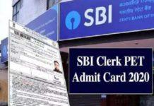 SBI Clerk PET Admit Card 2020